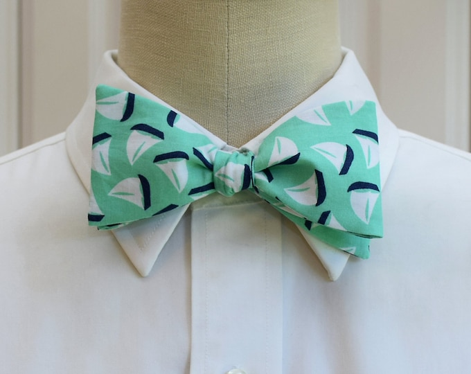 Men's Bow Tie, mint with navy sailboats, marine wedding bow tie, sailor gift, nautical wedding bow tie, groom/groomsmen bow tie, sailing tie