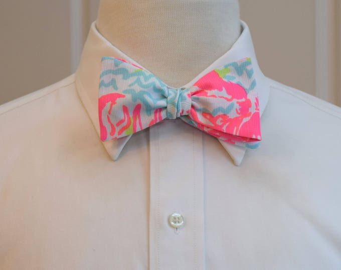Men's Bow Tie, Lobstah Roll, neon pinks/aqua/lime 2017 Lilly print, wedding bow tie, groom bow tie, groomsmen gift, tux accessory, Derby tie