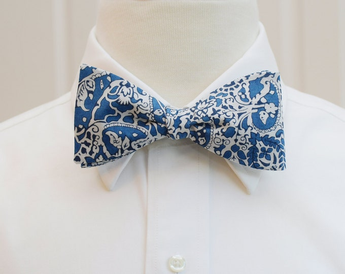 Men's Bow Tie, Liberty of London blue/ivory paisley bow tie, Lagos Laurel print, groomsmen/groom bow tie, wedding bow tie, tux accessory,