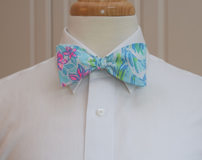 Men's Bow Tie, What a Lovely Place, blues/pinks/green, 2019 Lilly, beach wedding bow tie, groom/groomsmen bow tie, summer wedding bow tie,