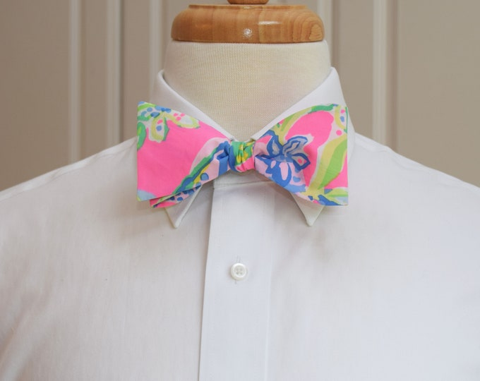 Men's Bow Tie, Squeeze the Day vivid Lilly print, neon pink, blue/green/yellow bow tie, wedding/groom/groomsmen bow tie, prom bow tie