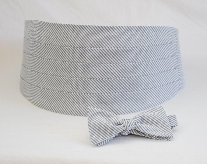 Cummerbund & Bow Tie, grey seersucker, wedding party menswear, tuxedo accessory, groom formal wear, southern stylish wedding, custom made
