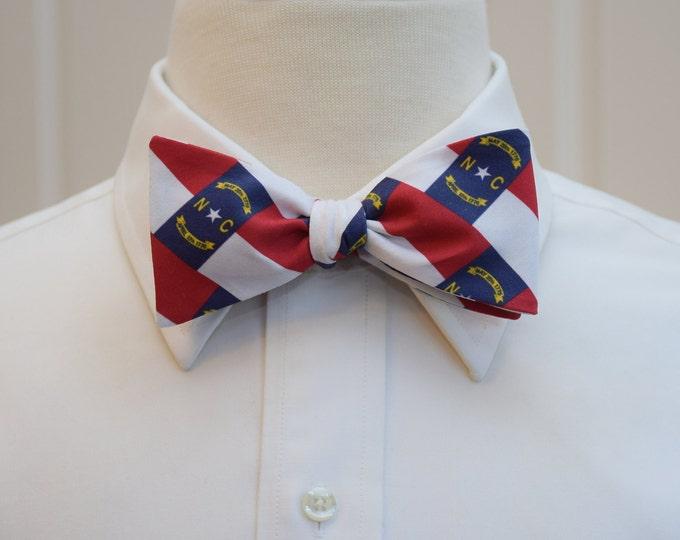 Men's Bow Tie, NC state flag bow tie, red, white and blue bow tie, state flag bow tie, self tie bow tie, wedding bow tie, groomsmen gift