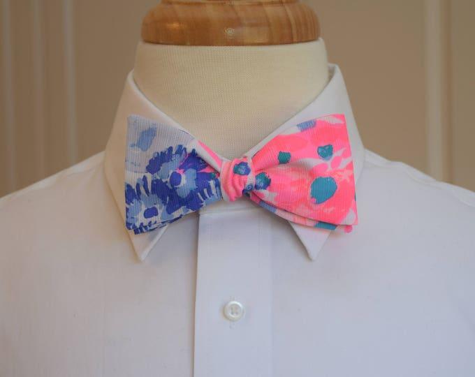 Men's Bow Tie, Rainbow Soleil blue/pink 2018 Lilly print, wedding bow tie, groom/groomsmen bow tie, prom bow tie, Carolina Cup/Derby bow tie