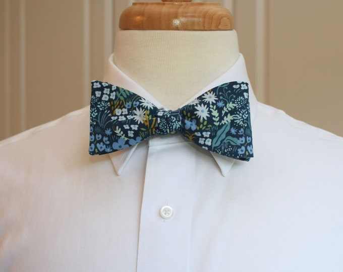 Men's Bow Tie, Rifle Paper Co. English Garden Meadow blue floral bow tie, wedding bow tie, groom/groomsmen bow tie, Kentucky Derby bow tie