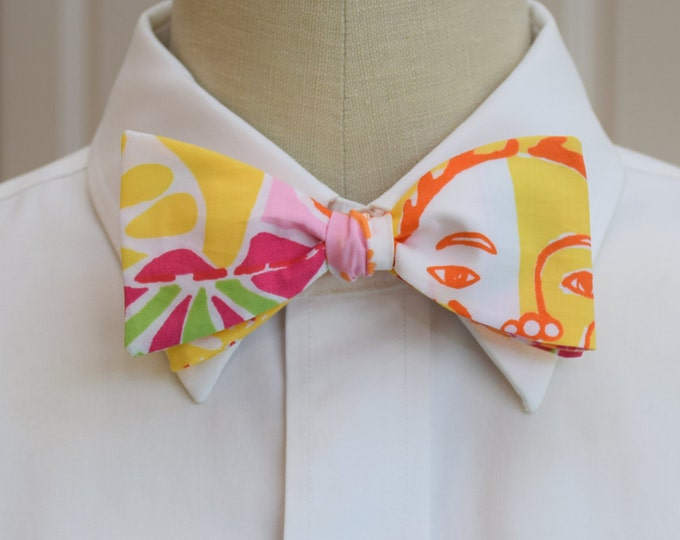 Men's Bow Tie, Happy Hour yellow/pink/green patchwork design Lilly print bow tie, wedding bow tie, groom/groomsmen bow tie, prom bow tie
