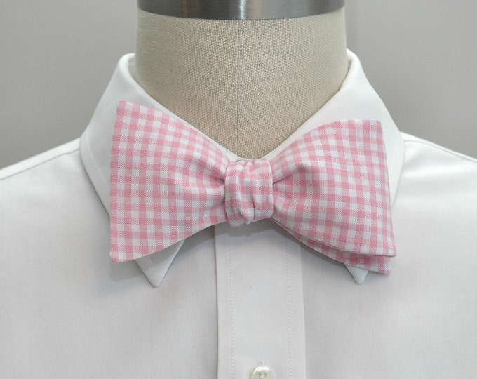 Men's Bow Tie in pink gingham, pink wedding party tie, groom bow tie, groomsmen gift, summer bow tie, pastel pink gingham bow tie, self tie