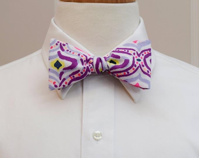 Men's Bow Tie, Big Escapade Lilly print, purple, hot pink print, wedding bow tie, groom bow tie, groomsmen gift, prom bow tie,