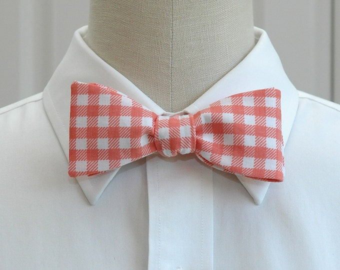 Men's Bow Tie, coral over-sized gingham plaid bow tie, coral white bow tie, wedding bow tie, groom bow tie, groomsmen gift, salmon bow tie,
