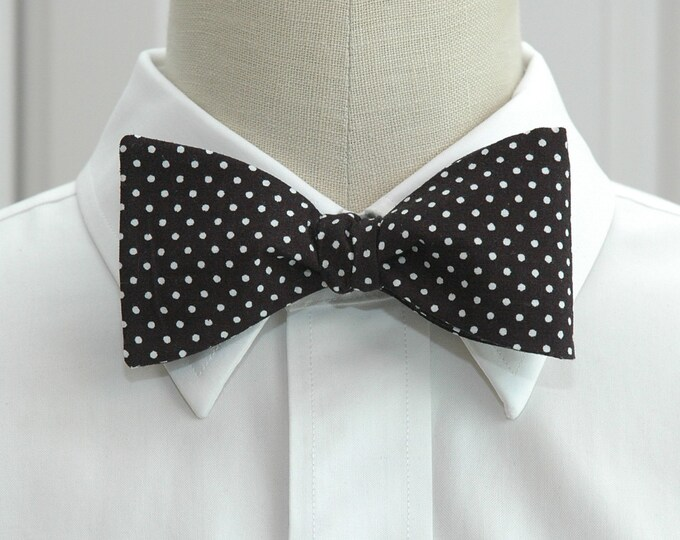 Men's Bow Tie, black white mini polka dots, classic bow tie, ebony bow tie, stylish wedding bow tie, boardroom bow tie, self tie bow tie,