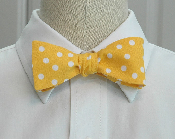 Men's Bow Tie, mango sorbet with white polka dots bow tie, yellow bow tie, wedding bow tie, groom bow tie, groomsmen gift, prom bow tie,