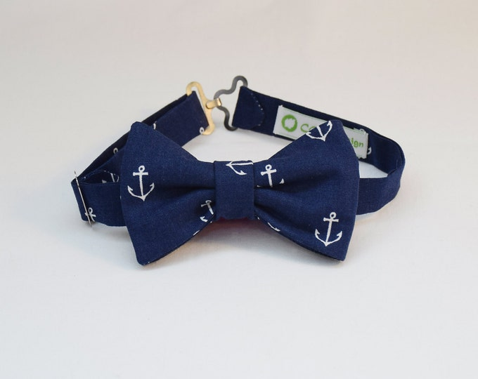 Boy's pre-tied Bow Tie in navy blue with white anchors, father/son matching ties, wedding accessory, toddler bow tie, ring bearer bow tie,