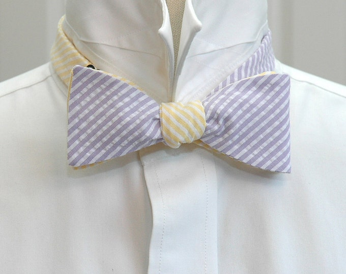 Men's Reversible Bow Tie, lilac & yellow seersucker, wedding party tie, groom bow tie, groomsmen gift, wedding accessory, self tie bow tie