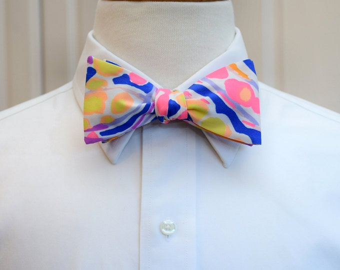 Men's Bow Tie, Catch and Release neon bright Lilly print, cobalt blue neon coral,  Kentucky Derby bow tie, groom bow tie, wedding bow tie,