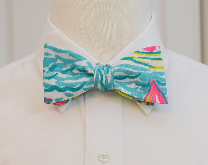 Men's Bow Tie, You Gotta Regatta Lilly print, groom bow tie, groomsmen gift, wedding bow tie, sailboat bow tie, prom tie, nautical bow tie