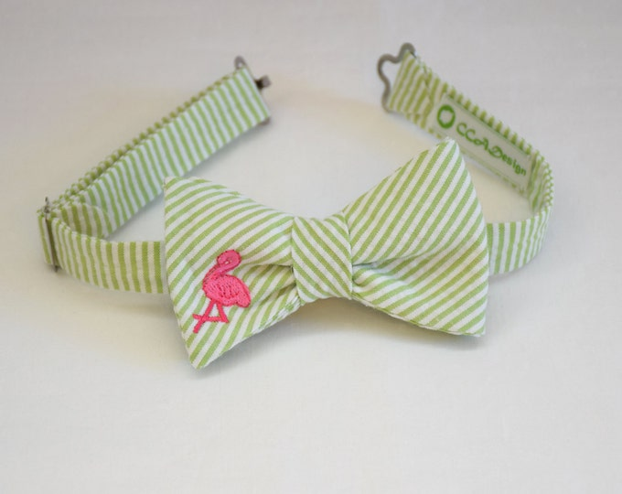 Boy's pre-tied Bow Tie, lime seersucker, hot pink flamingo, father/son bow ties, wedding accessory, toddler bow tie, ring bearer bow tie,