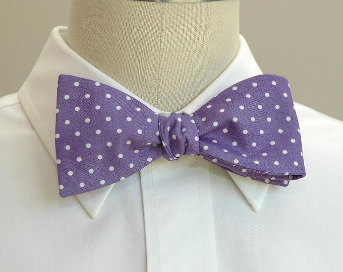 Men's Bow Tie, violet bow tie, polka dot bow tie, grooms bow tie, prom bow tie, spotted bow tie, wedding party bow tie, lavender bow tie
