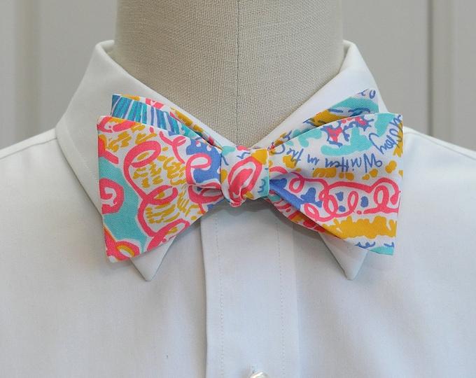 Men's Bow Tie, Written in the Sun iris blue Lilly print, neon bright multi color bow tie, wedding bow tie, groom bow tie, groomsmen gift,