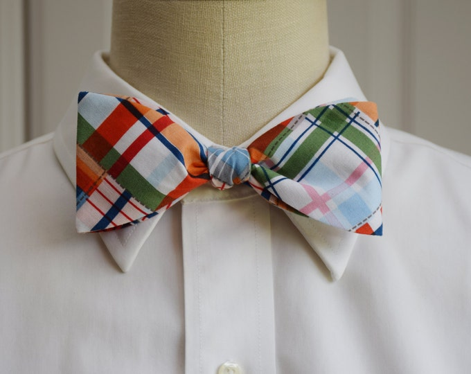 Men's Bow Tie, multi color Madras plaid, preppy bow tie, wedding bow tie, groom bow tie, casual bow tie, plaid bow tie, bright plaid bow tie