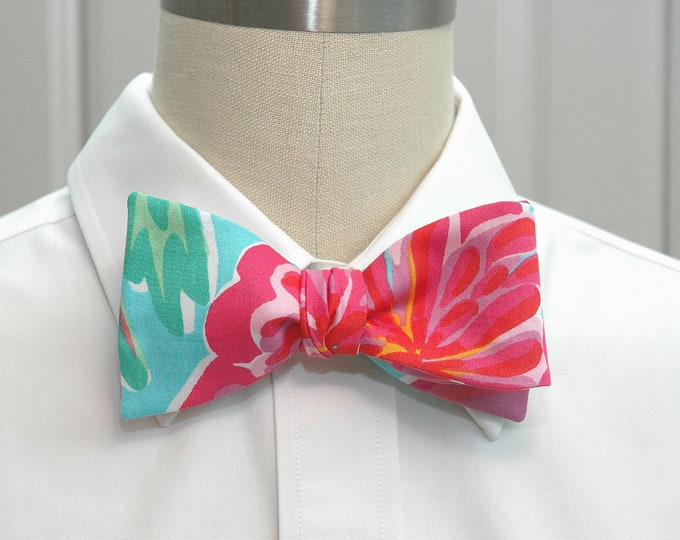 Men's Bow Tie, Bellina aqua/turquoise hibiscus Lilly print, tropical floral bow tie, wedding bow tie, groom bow tie, hot pink turquoise tie