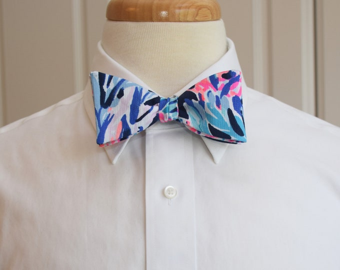 Men's Bow Tie, navy Party in Paradise Lilly print, neon pinks/blues coral reef design, wedding party bow tie, groomsmen/groom bow tie