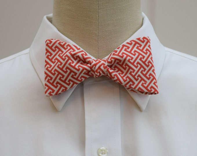 Men's bow tie, red/ivory Greek key design, geometric print bow tie, wedding party wear, groom/groomsmen bow tie, red/ivory bow tie, prom tie