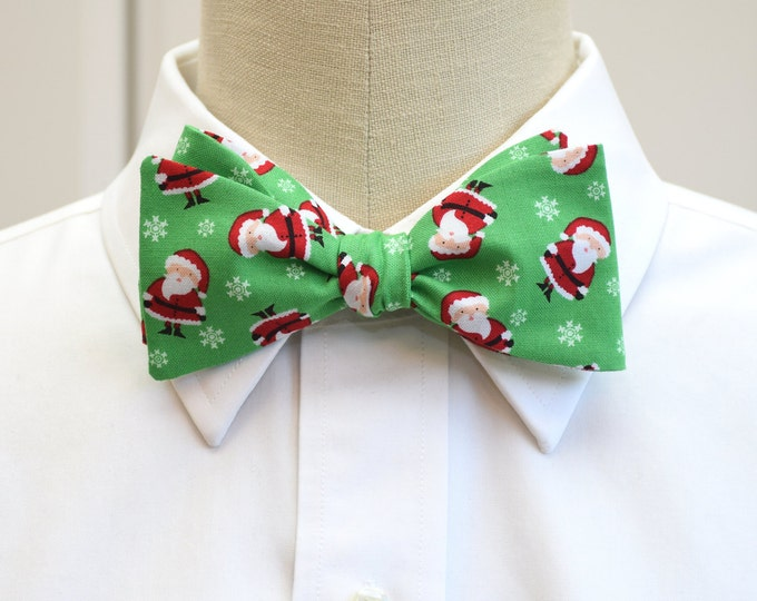 Men's Bow Tie, Christmas green/mini Santa Claus, fun green holiday bow tie, green red Christmas bow tie, tossed Father Christmas bow tie