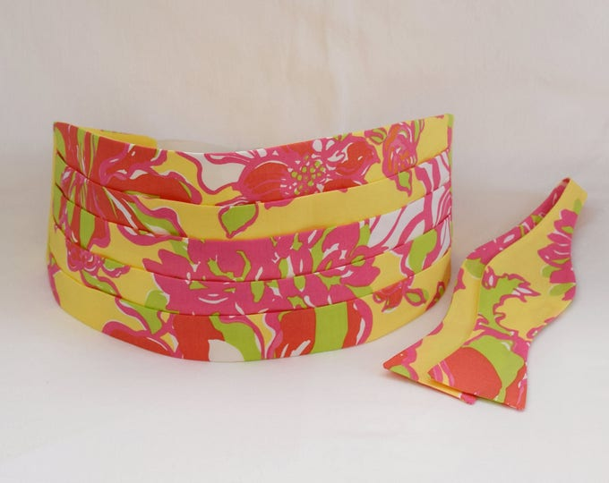 Men's Cummerbund & Bow Tie set, yellow/pink/lime Uncontainable Lilly print, wedding cummerbund set, groom cummerbund, prom cummerbund set