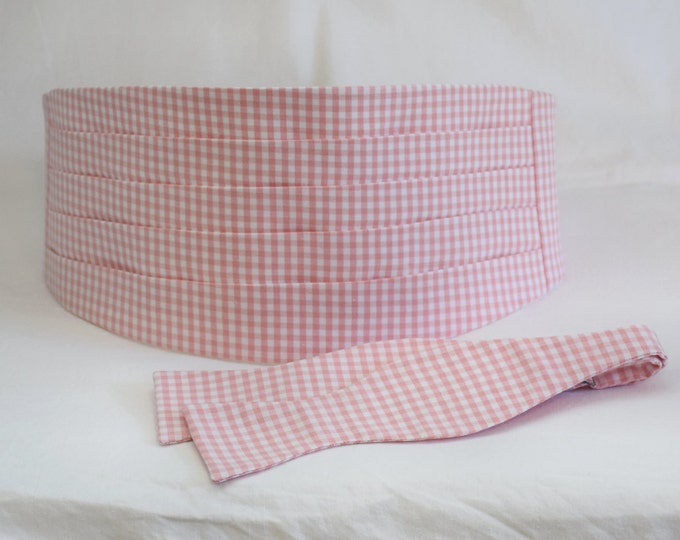 Cummerbund & Bow Tie, pink gingham, groom formal wear, wedding party attire, classic tuxedo accessory, custom preppy cummerbund, prom style