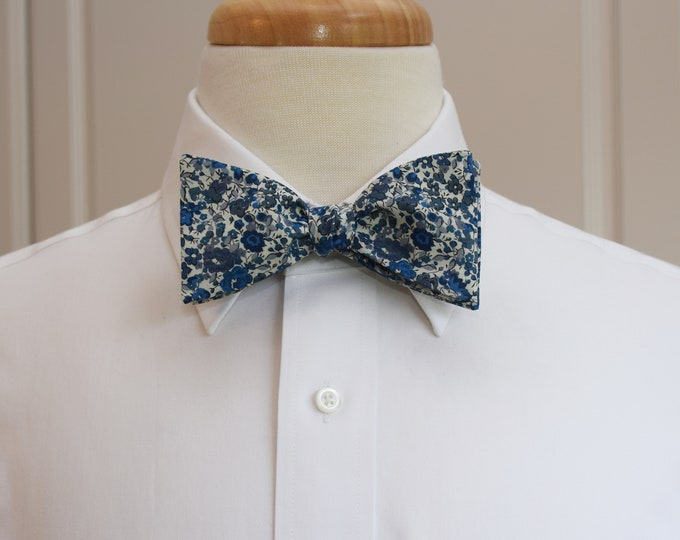 Men's Bow Tie, Liberty of London blues/grays/ivory floral Emma & Georgina print, groomsmen/groom bow tie, wedding bow tie, tuxedo accessory
