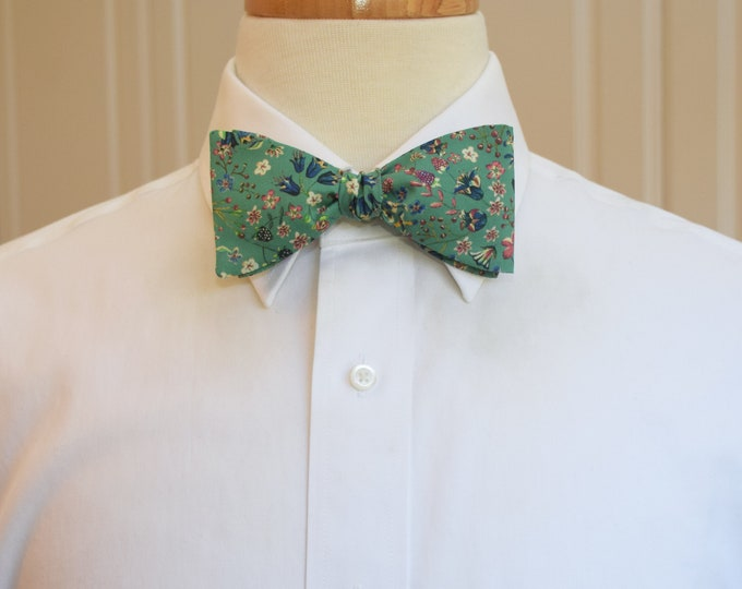 Men's Bow Tie, Liberty of London, green/blue/pink floral Donna Leigh print, groomsmen/groom bow tie, wedding bow tie, classic tux accessory