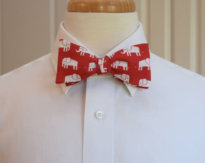 Men's Bow Tie, red with white elephants, zoo wedding bow tie, elephant lover gift, red/white elephant bow tie, Republican elephant gift