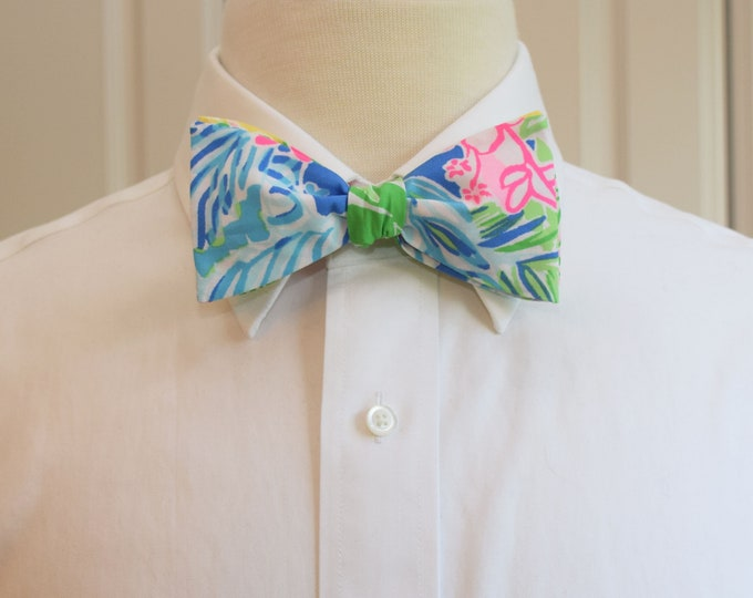 Men's Bow Tie, Cheek to Cheek 2019 Lilly print, pink/green/blue/yellow multi bow tie, wedding bow tie, groom/groomsmen bow tie, prom bow tie