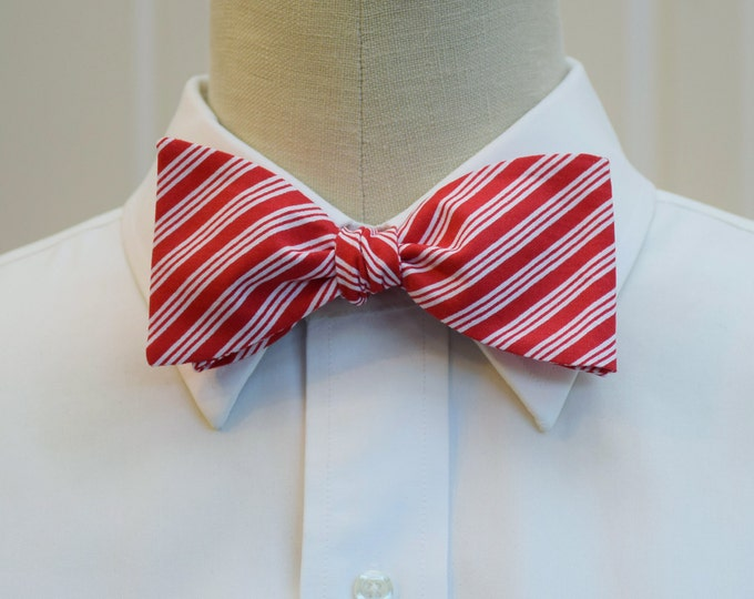 Men's Bow Tie, red/white stripes bow tie, candy cane stripes bow tie, Christmas bow tie, groomsmen gift, holiday bow tie, festive bow tie,