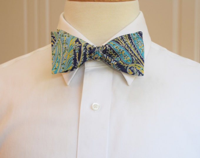 Men's Bow Tie, Liberty London navy/turquoise/yellow paisley Felix & Isabelle print, groomsmen/groom bow tie, wedding bow tie, tux accessory