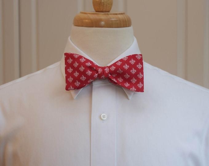 Men's Bow Tie, red/white fleur de lys bow tie, wedding party tie, groom/groomsmen bow tie, classy tuxedo accessory, bright red/white bow tie
