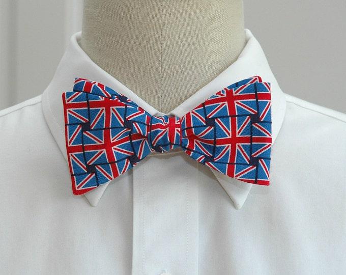 Men's Bow Tie, Union Jack bow tie, English flag bow tie, British flag self-tie bow tie, patriotic UK bow tie, red/white/blue UK flag bow tie