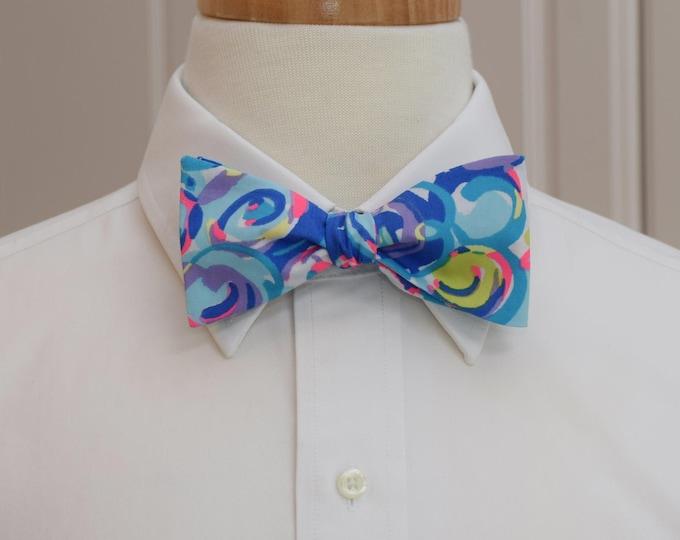 Men's Bow Tie, Gillty Pleasures blue/multi Lilly print, prom bow tie, wedding bow tie, Carolina Cup bow tie, Kentucky Derby, groom bow tie