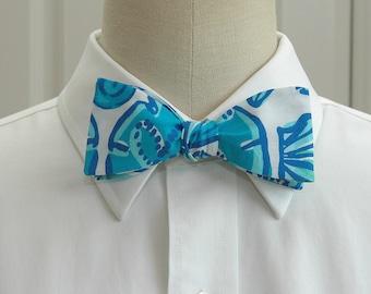 efa497123422 Men's Bow tie, blue Sailor's Valentine, blue, turquoise, white bow tie,  wedding bow tie, beach theme bow tie, groom bow tie, groomsmen gift,