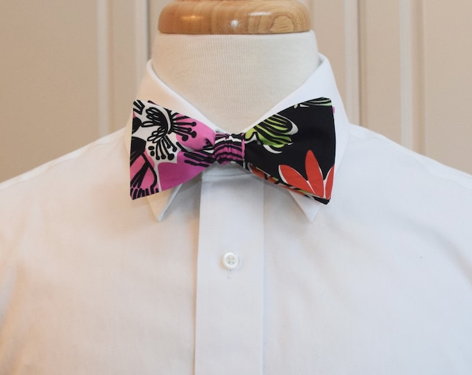 Men's Bow Tie, rare Black Flower Market Lilly print, black/red/multi wedding bow tie, groom/groomsmen bow tie, prom bow tie, tux accessory