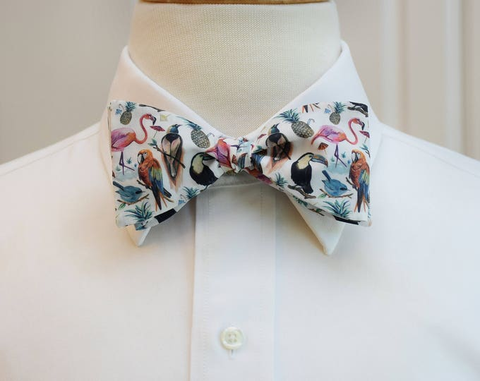 Men's Bow Tie, Liberty of London, tropical birds design, wedding bow tie, groom bow tie, bird lover bow tie, exotic bird tie, groomsmen gift