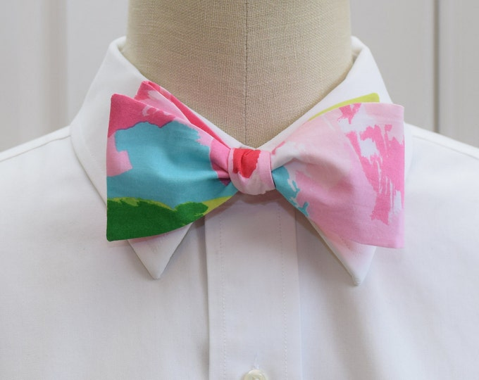 Men's Bow Tie, hotty pink First Impressions Lilly print, wedding bow tie, groom bow tie, groomsmen gift, prom bow tie, pink, blue bow tie