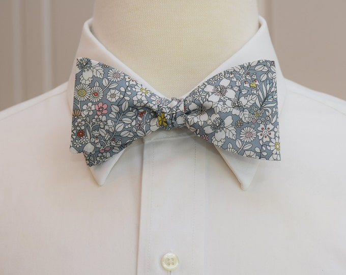 Mens Bow Tie, Liberty of London gray/ivory floral bow tie, gray June's Meadow print, groomsmen/groom bow tie, wedding bow tie, tux accessory