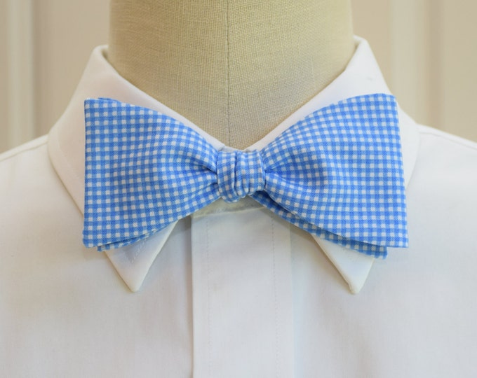 Men's Bow Tie, pool blue mini gingham, bright blue mini gingham bow tie, wedding bow tie, groom bow tie, groomsmen gift, summer bow tie,