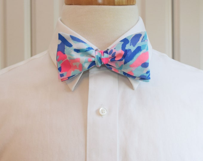 Men's Bow Tie, Party Wave 2019 blues/pinks Lilly print bow tie, groomsmen/groom bow tie, wedding bow tie, Kentucky Derby bow tie