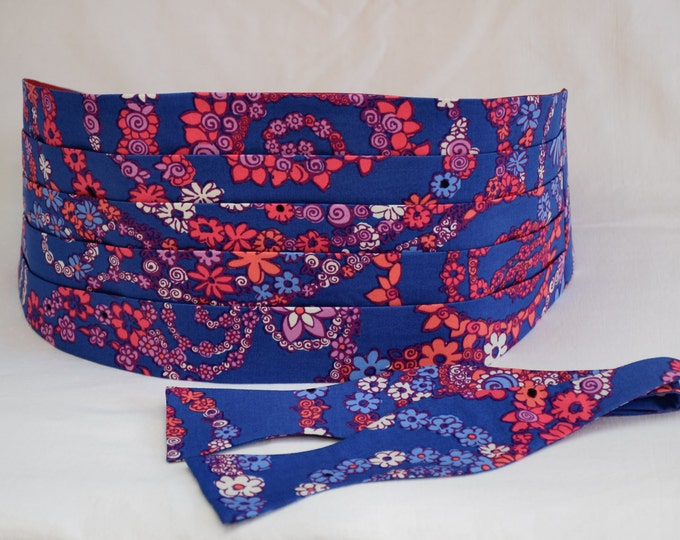 Men's Cummerbund & Bow Tie, royal blue/pink/purple Secret Snail Lilly print, formal wedding cummerbund set, tux accessory, prom cummerbund