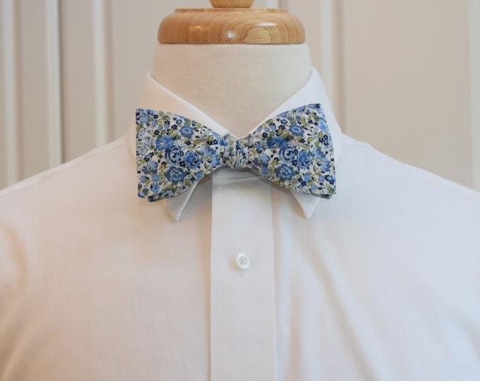 Men's Bow Tie, Liberty of London blues/green/ivory floral Emma & Georgina print, groomsmen/groom bow tie, wedding bow tie, tuxedo accessory