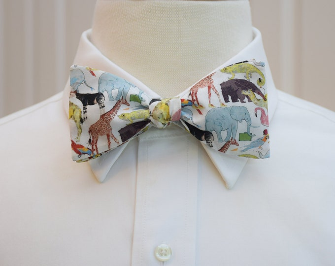 Men's Bow Tie, Liberty London Queue for the Zoo, animal bow tie, zoo wedding bow tie, animal lover gift, veterinarian gift, groomsmen gift