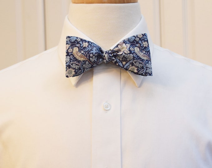 Men's Bow Tie, Liberty of London, blues/gray Strawberry Thief William Morris classic print bow tie, groom/groomsmen bow tie, wedding tie