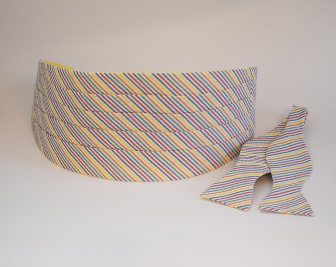 Men's Cummerbund & Bow Tie set, rainbow seersucker, wedding bow tie set, groom bow tie set, groomsmens' gift, southern wedding bow tie set